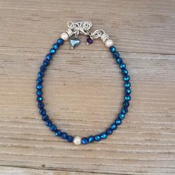bra80 Bransoletka Glass Metallic Blue